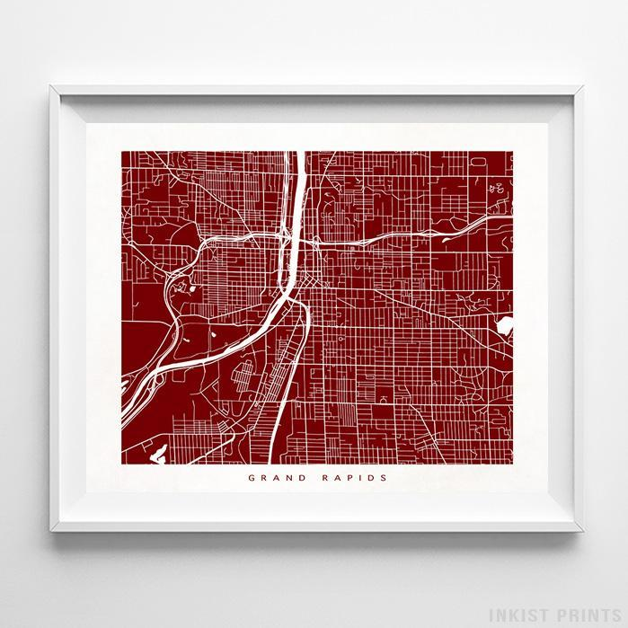 Grand Rapids, Michigan Street Map Horizontal Print-Poster-Wall_Art-Home_Decor-Inkist_Prints