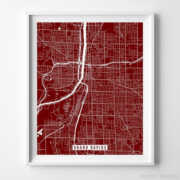 Grand Rapids, Michigan Street Map Vertical Print-Poster-Wall_Art-Home_Decor-Inkist_Prints