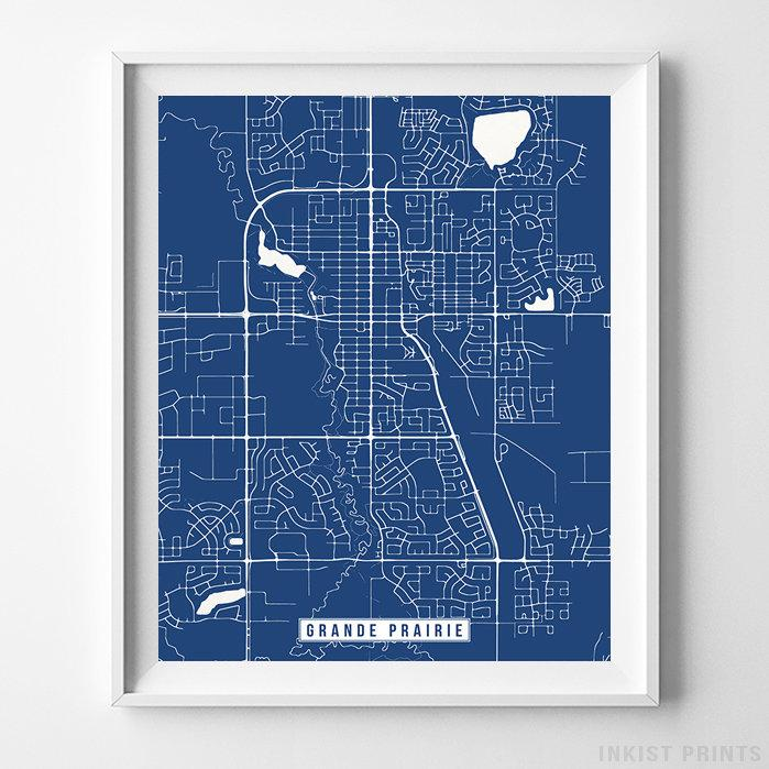 Grande Prairie, Canada Street Map Vertical Print-Poster-Wall_Art-Home_Decor-Inkist_Prints