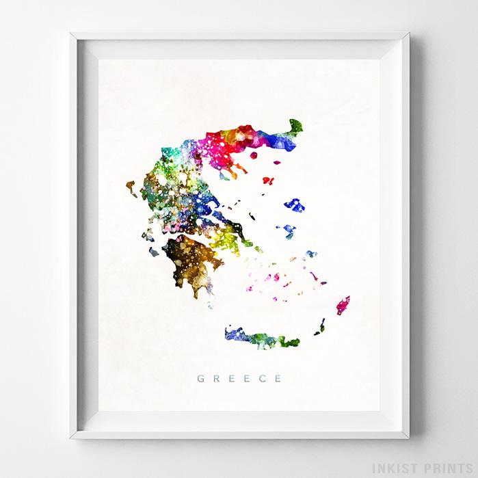Greece Watercolor Map Print - Inkist Prints
