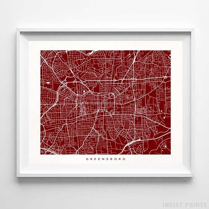 Greensboro, North Carolina Street Map Print - Inkist Prints