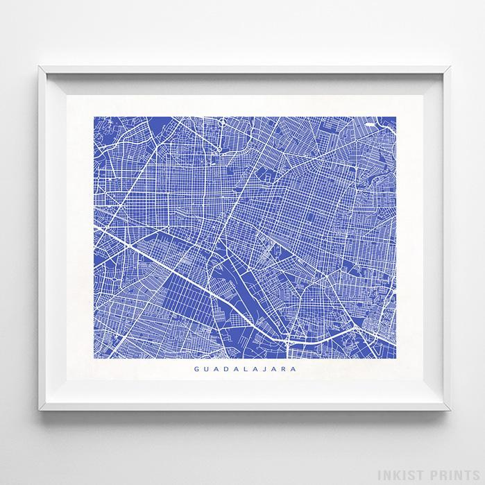 Guadalajara, Mexico Street Map Horizontal Print-Poster-Wall_Art-Home_Decor-Inkist_Prints