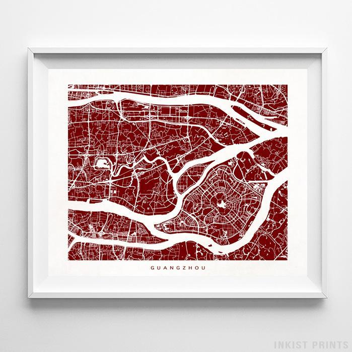 Guangzhou, China Street Map Horizontal Print-Poster-Wall_Art-Home_Decor-Inkist_Prints