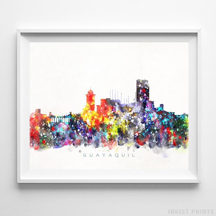 Guayaquil, Ecuador Skyline Watercolor Print-Poster-Wall_Art-Home_Decor-Inkist_Prints