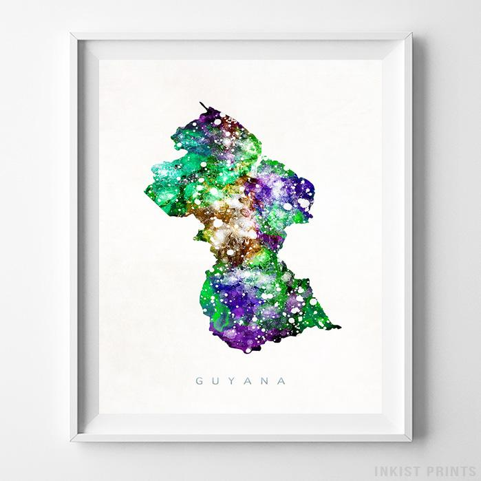 Guyana Watercolor Map Print - Inkist Prints
