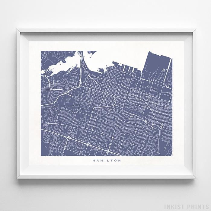 Hamilton, Canada Street Map Horizontal Print-Poster-Wall_Art-Home_Decor-Inkist_Prints