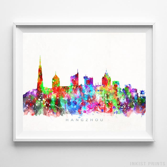 Hangzhou, China Skyline Watercolor Print - Inkist Prints