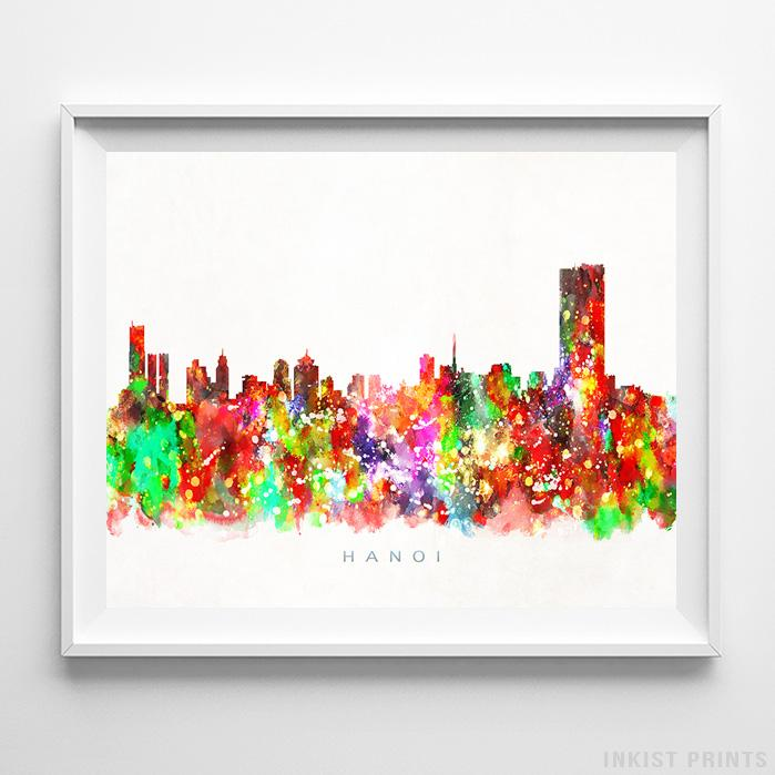 Hanoi, Vietnam Skyline Watercolor Print-Poster-Wall_Art-Home_Decor-Inkist_Prints