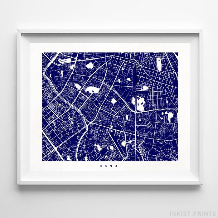 Hanoi, Vietnam Street Map Horizontal Print-Poster-Wall_Art-Home_Decor-Inkist_Prints