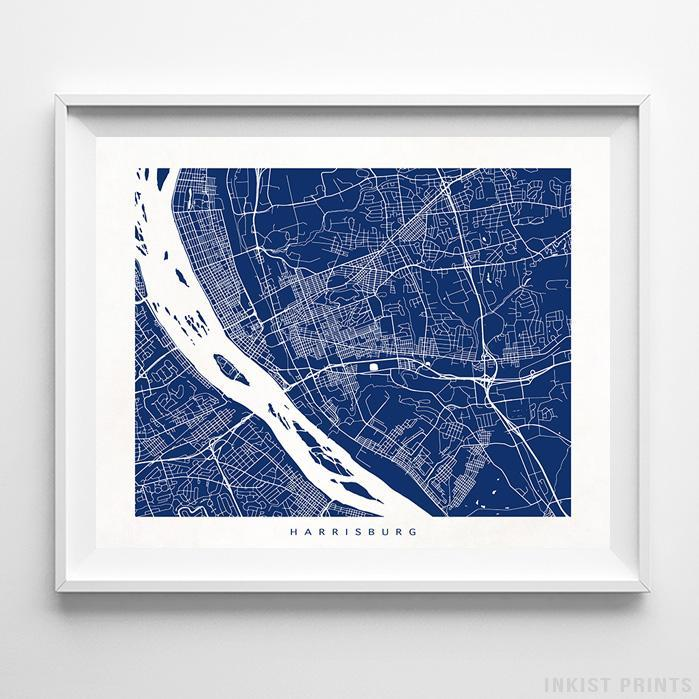 Harrisburg, Pennsylvania Street Map Print - Inkist Prints