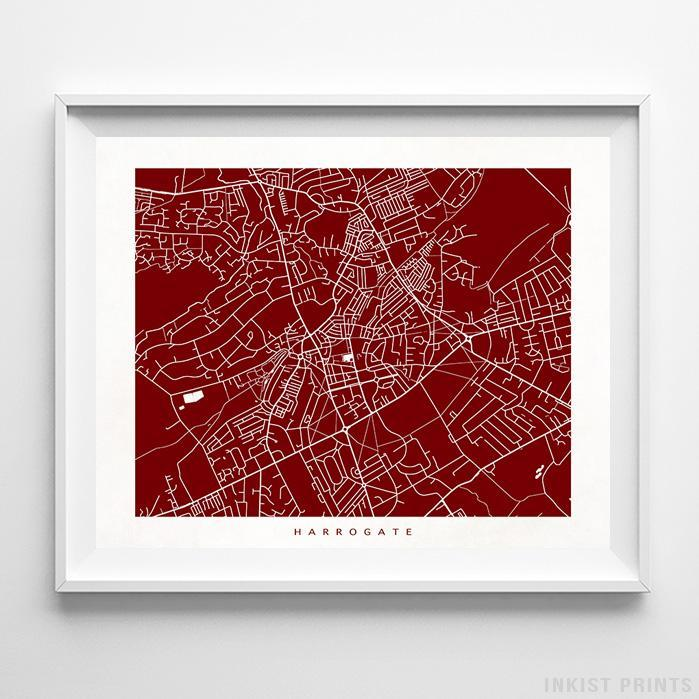 Harrogate, England Street Map Horizontal Print-Poster-Wall_Art-Home_Decor-Inkist_Prints