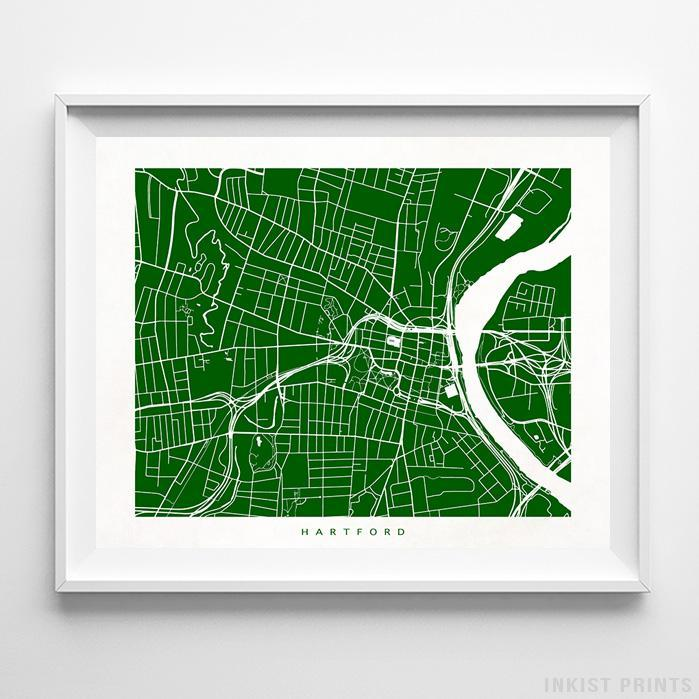 Hartford, Connecticut Street Map Horizontal Print-Poster-Wall_Art-Home_Decor-Inkist_Prints