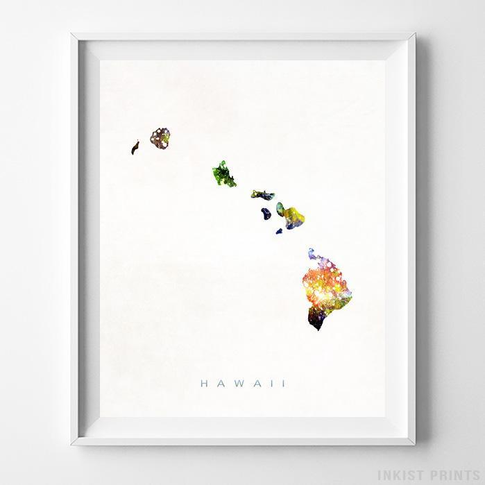 Hawaii Watercolor Map Print - Inkist Prints