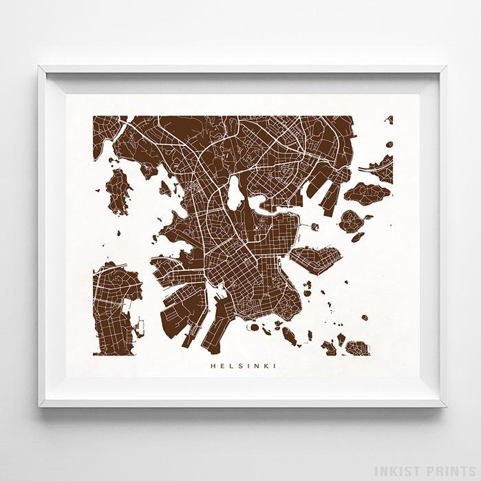 Helsinki, Finland Street Map Horizontal Print-Poster-Wall_Art-Home_Decor-Inkist_Prints