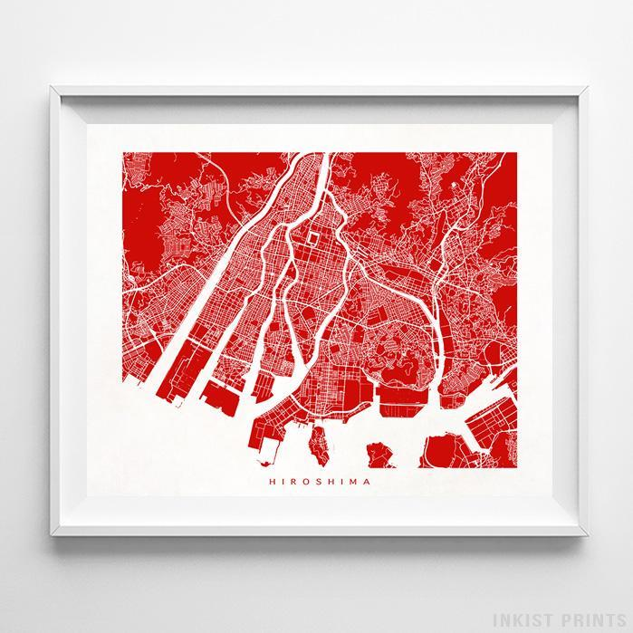 Hiroshima, Japan Street Map Horizontal Print-Poster-Wall_Art-Home_Decor-Inkist_Prints