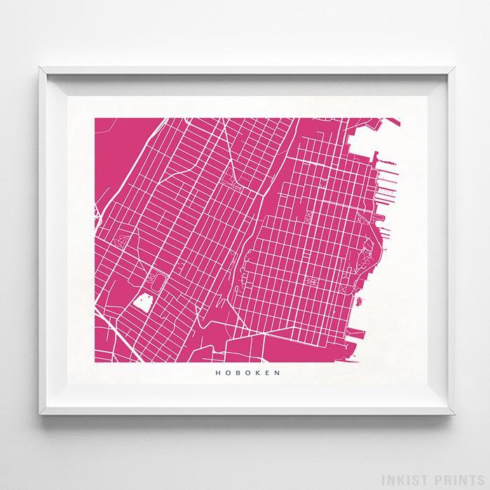 Hoboken, New Jersey Street Map Horizontal Print-Poster-Wall_Art-Home_Decor-Inkist_Prints
