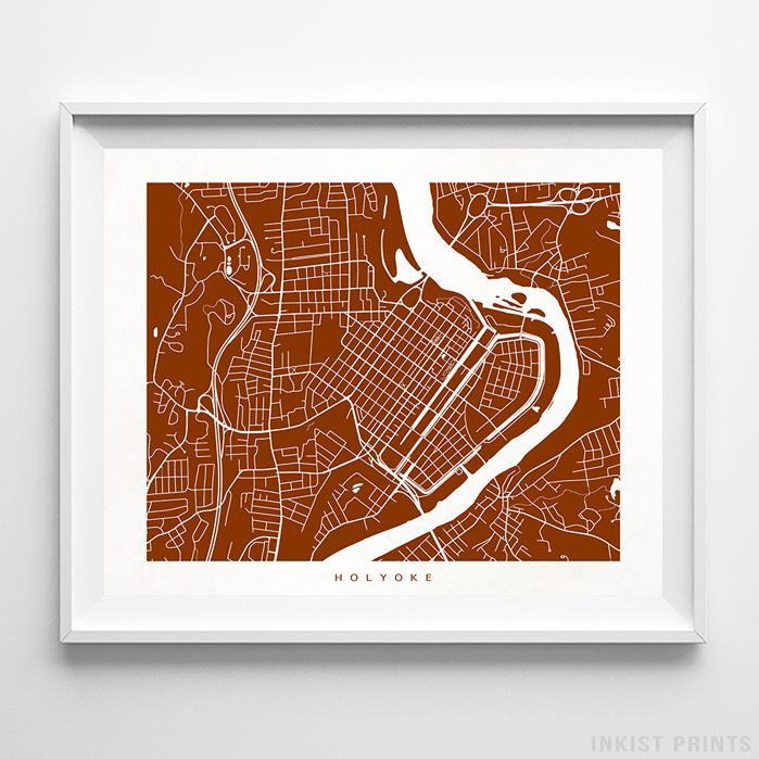 Holyoke, Massachusetts Street Map Horizontal Print-Poster-Wall_Art-Home_Decor-Inkist_Prints
