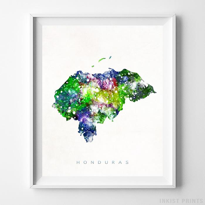 Honduras Watercolor Map Print-Poster-Wall_Art-Home_Decor-Inkist_Prints