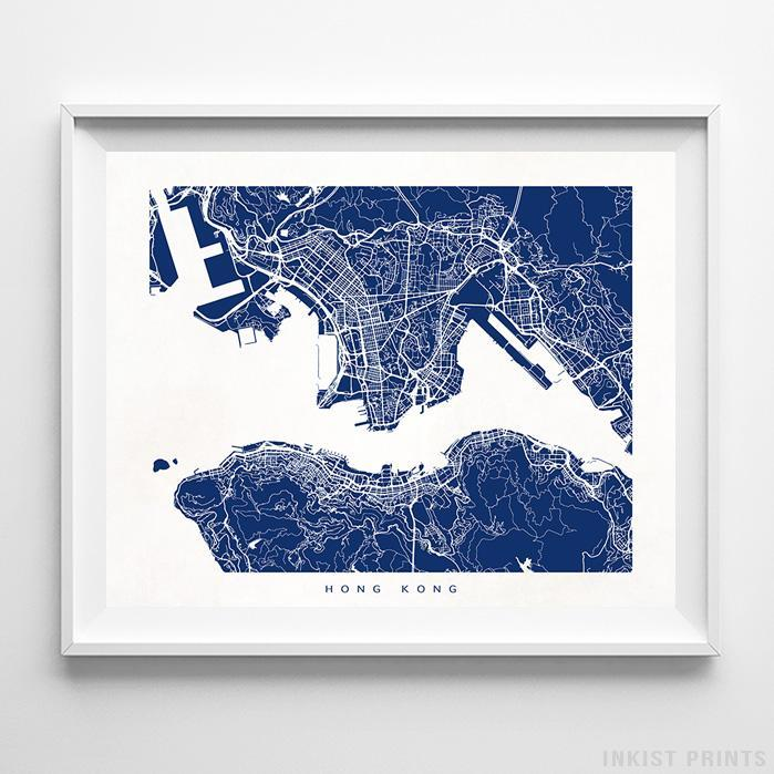 Hong Kong, China Street Map Horizontal Print-Poster-Wall_Art-Home_Decor-Inkist_Prints