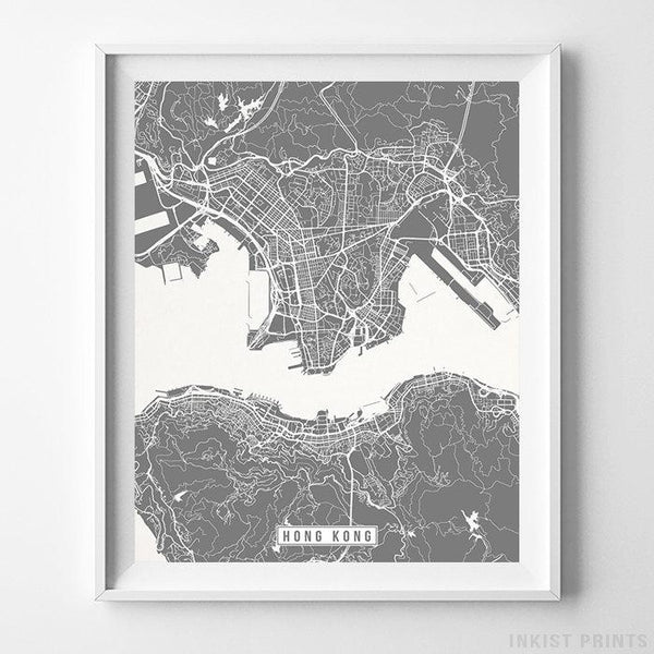 Hong Kong Street Map Vertical Print-Poster-Wall_Art-Home_Decor-Inkist_Prints