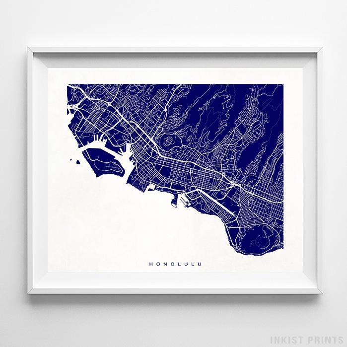 Honolulu, Hawaii Street Map Horizontal Print-Poster-Wall_Art-Home_Decor-Inkist_Prints