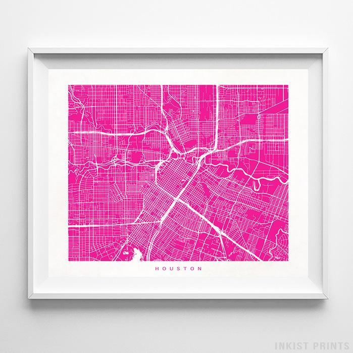 Houston, Texas Street Map Horizontal Print-Poster-Wall_Art-Home_Decor-Inkist_Prints