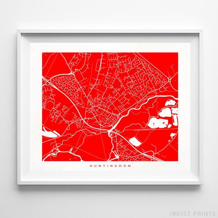 Huntingdon, England Street Map Horizontal Print-Poster-Wall_Art-Home_Decor-Inkist_Prints