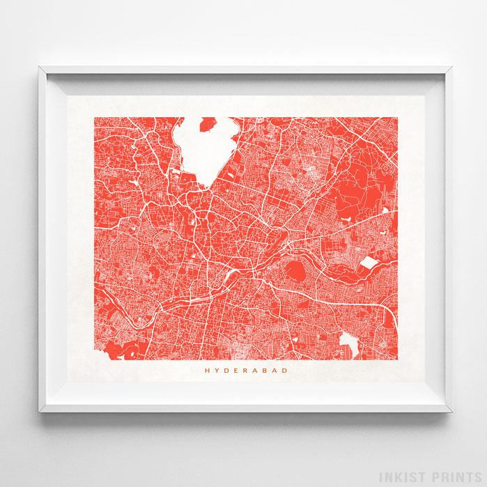 Hyderabad, India Street Map Horizontal Print-Poster-Wall_Art-Home_Decor-Inkist_Prints