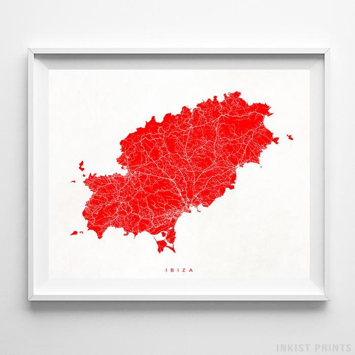 Ibiza, Spain Street Map Horizontal Print-Poster-Wall_Art-Home_Decor-Inkist_Prints