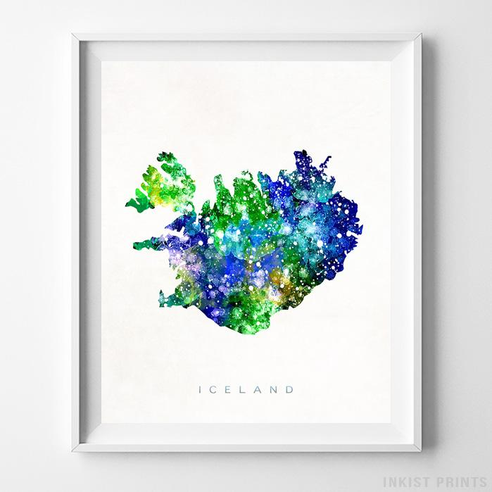 Iceland Watercolor Map Print - Inkist Prints