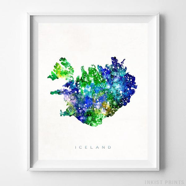 Iceland Watercolor Map Print-Poster-Wall_Art-Home_Decor-Inkist_Prints
