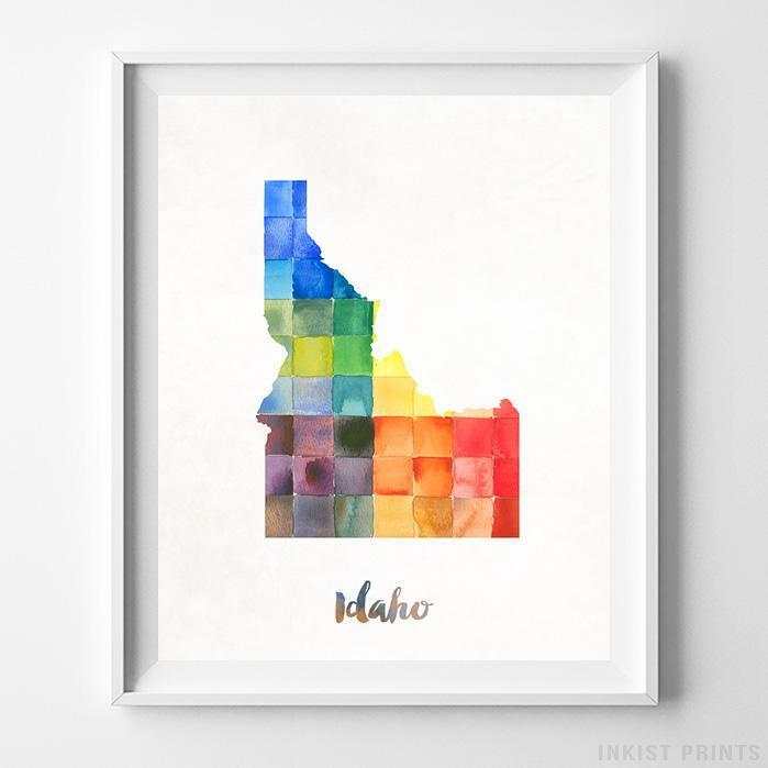Idaho Watercolor Map Print - Inkist Prints