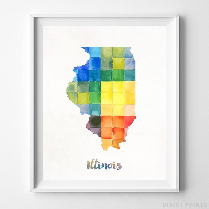 Illinois Watercolor Map Print - Inkist Prints