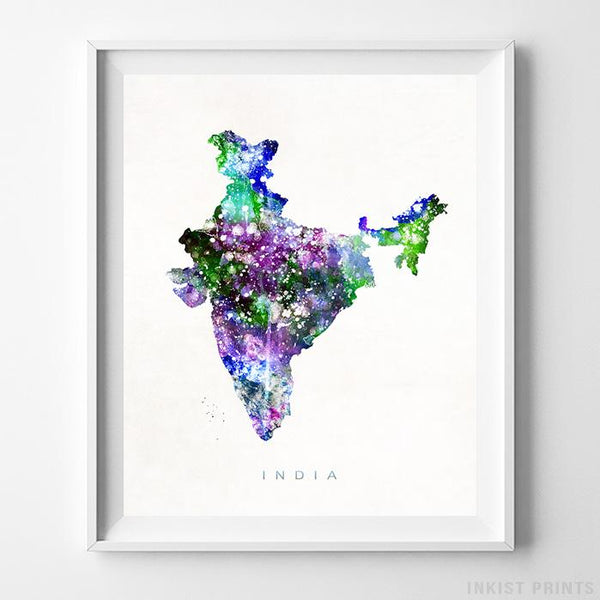 India Watercolor Map Print-Poster-Wall_Art-Home_Decor-Inkist_Prints