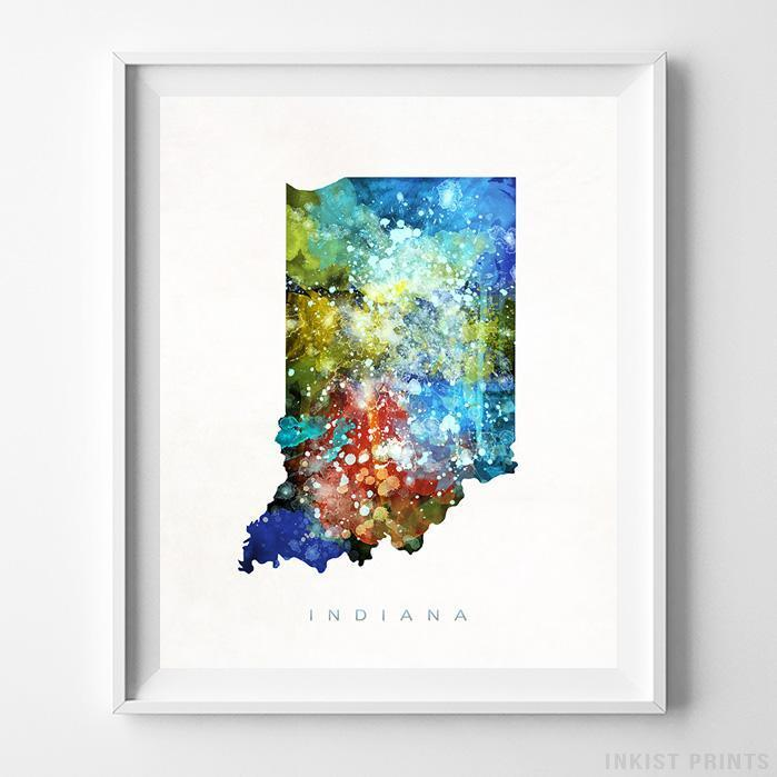 Indiana Watercolor Map Print - Inkist Prints
