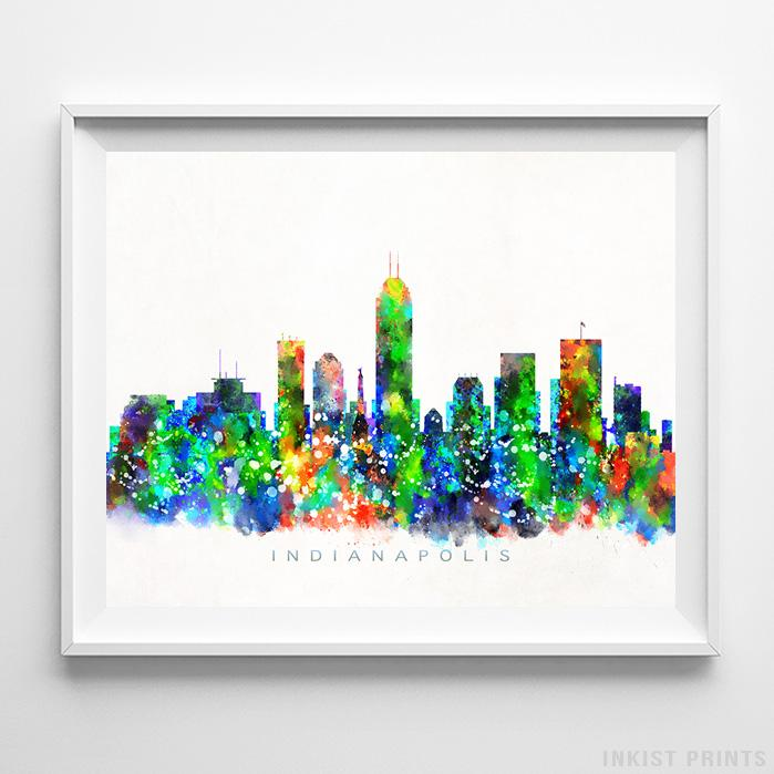 Indianapolis, Indiana Skyline Watercolor Print-Poster-Wall_Art-Home_Decor-Inkist_Prints