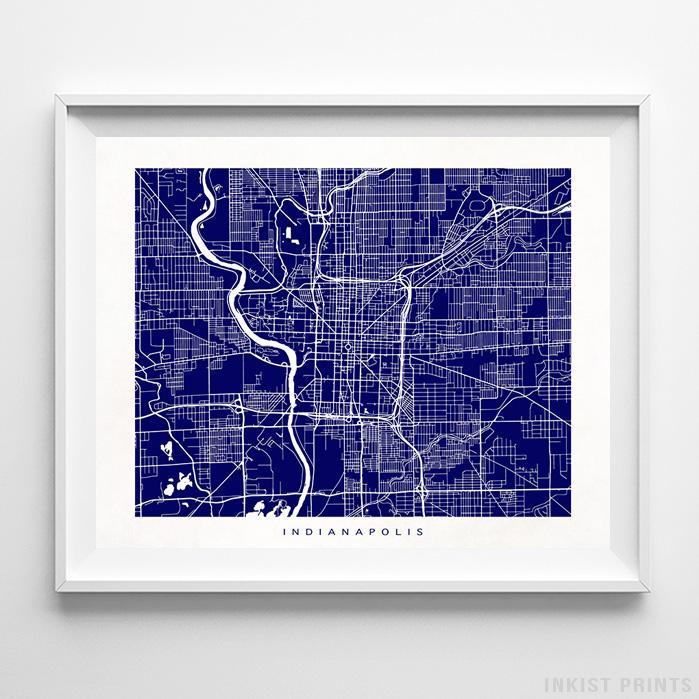 Indianapolis, Indiana Street Map Horizontal Print-Poster-Wall_Art-Home_Decor-Inkist_Prints