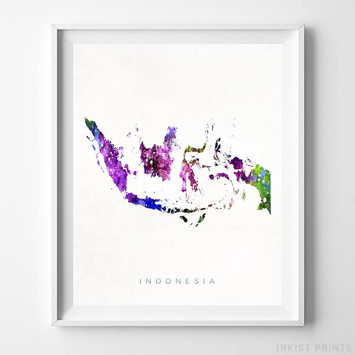 Indonesia Watercolor Map Print Wall Art Poster by Inkist Prints