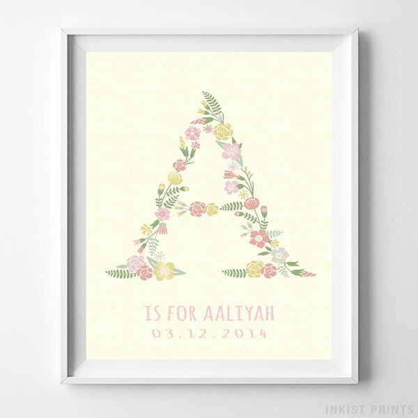 Initial 'A' Personalized Print Wall Art Poster by Inkist Prints