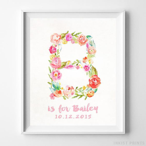 Initial 'B' Personalized Print Wall Art Poster by Inkist Prints