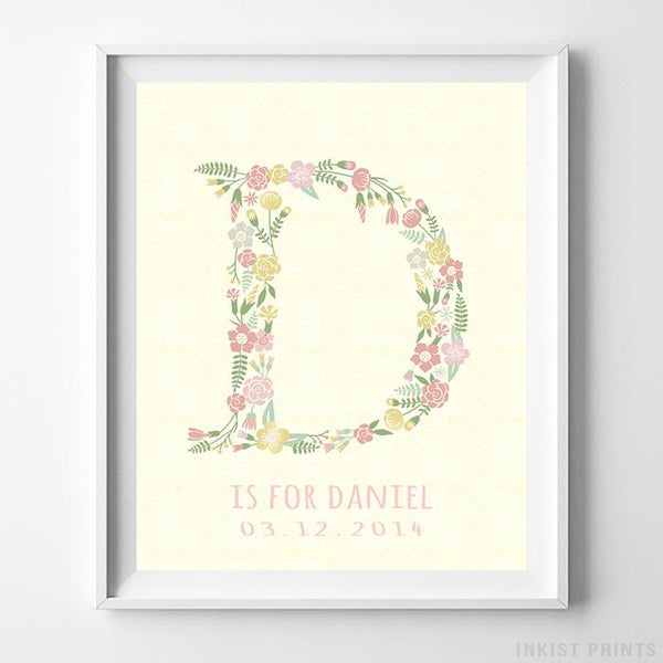 Initial 'D' Personalized Print - Inkist Prints