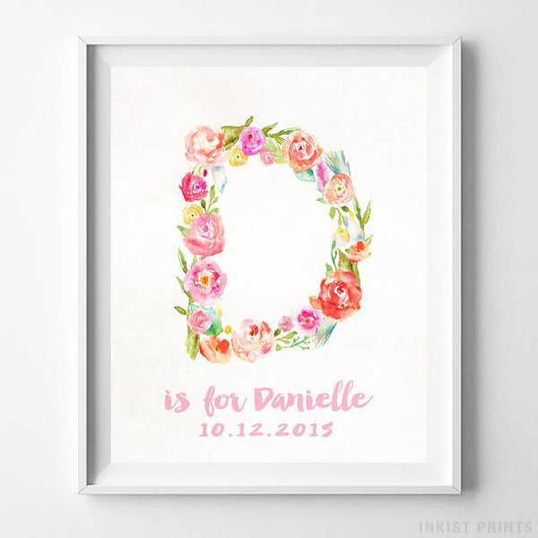Initial 'D' Personalized Print Wall Art Poster by Inkist Prints