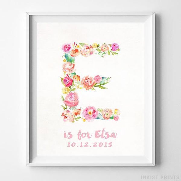 Initial 'E' Personalized Print Wall Art Poster by Inkist Prints