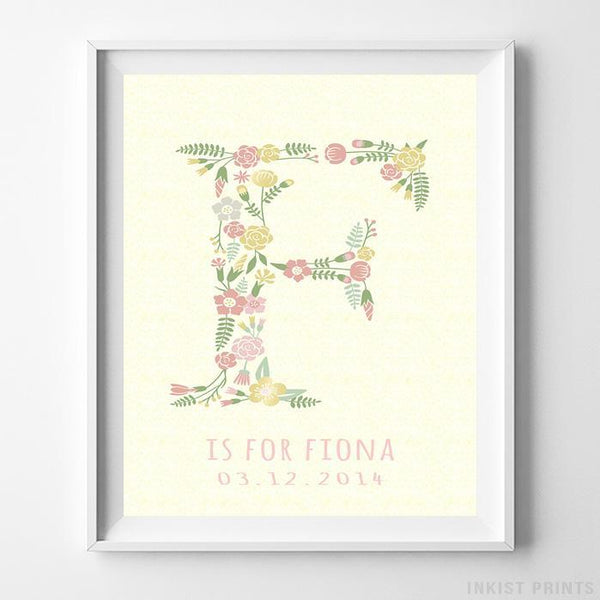 Initial 'F' Personalized Print Wall Art Poster by Inkist Prints