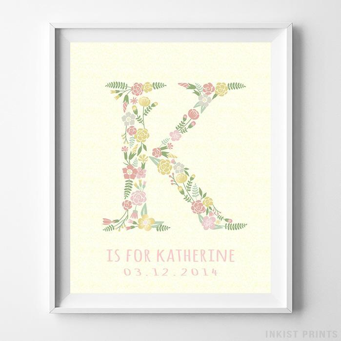 Initial 'K' Personalized Print Wall Art Poster by Inkist Prints