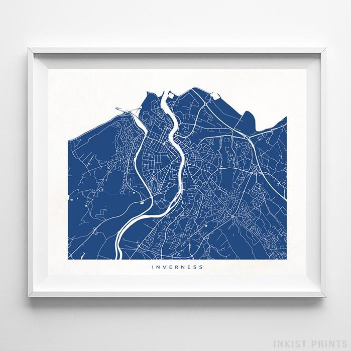 Inverness, Scotland Street Map Horizontal Print-Poster-Wall_Art-Home_Decor-Inkist_Prints