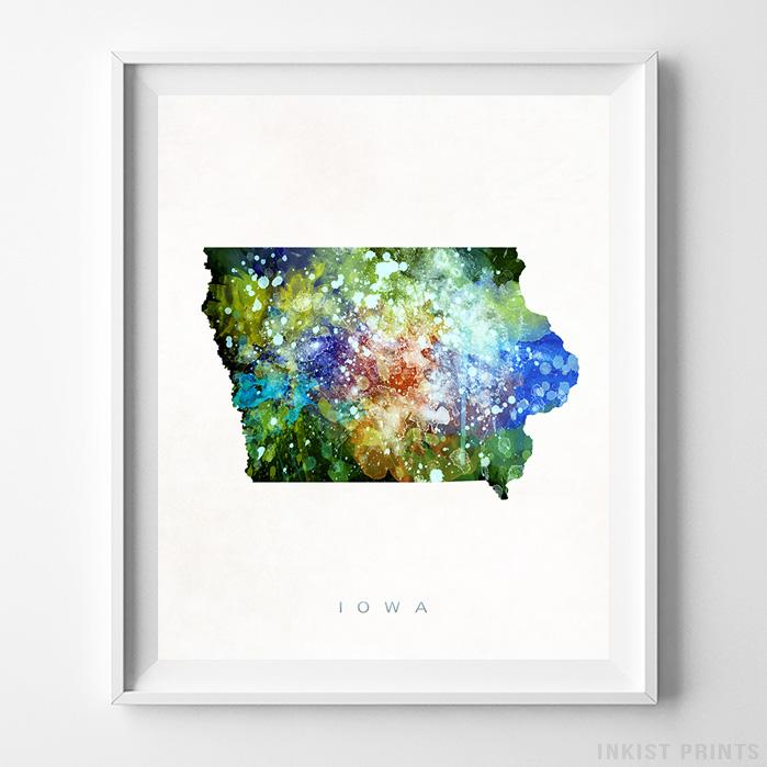 Iowa Watercolor Map Print Wall Art Poster by Inkist Prints