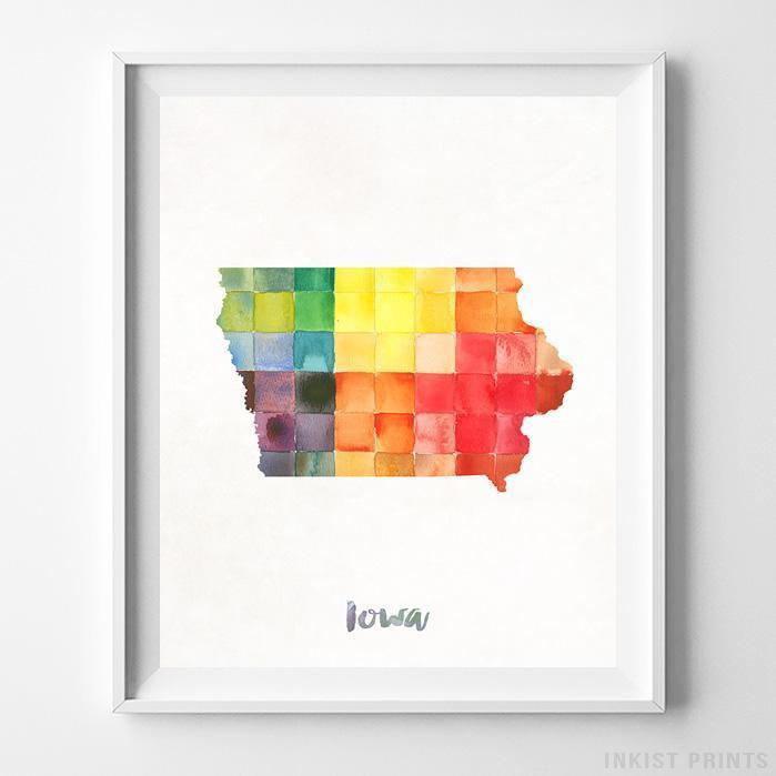 Iowa Watercolor Map Print - Inkist Prints