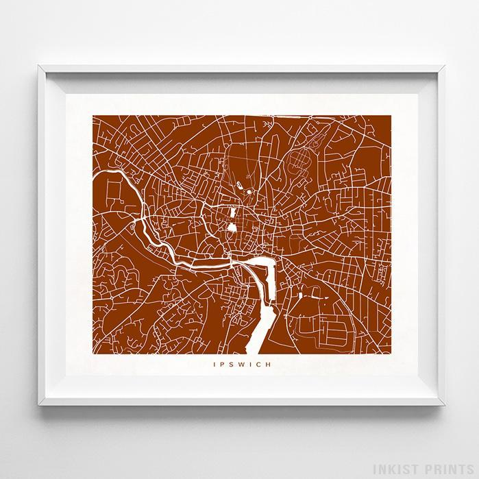 Ipswich, England Street Map Horizontal Print-Poster-Wall_Art-Home_Decor-Inkist_Prints