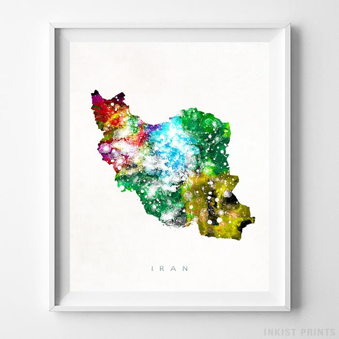 Iran Watercolor Map Print-Poster-Wall_Art-Home_Decor-Inkist_Prints